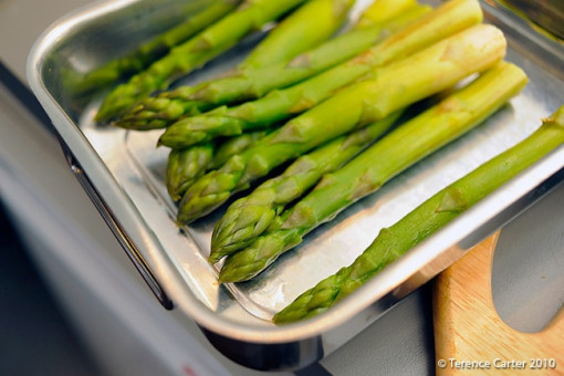 The blanched asparagus – see how they still kept their colour?