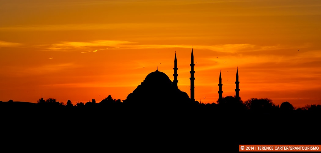 Sunset over the Bosphorus River, Istanbul, Turkey. Copyright 2014 Terence Carter / Grantourismo. All Rights Reserved.