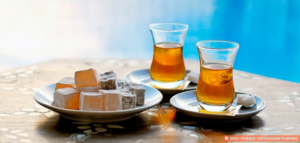 Turkish Delight and tea at a holiday villa in Kas, Turkey.