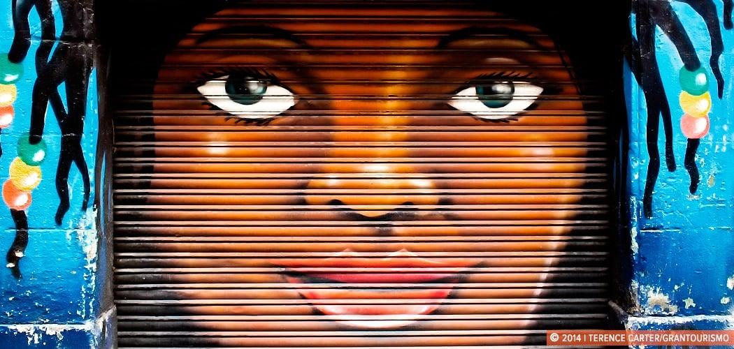 Barcelona's Shutter Art and Garage Door Graffiti, Barcelona, Spain. Copyright 2014 Terence Carter / Grantourismo. All Rights Reserved.