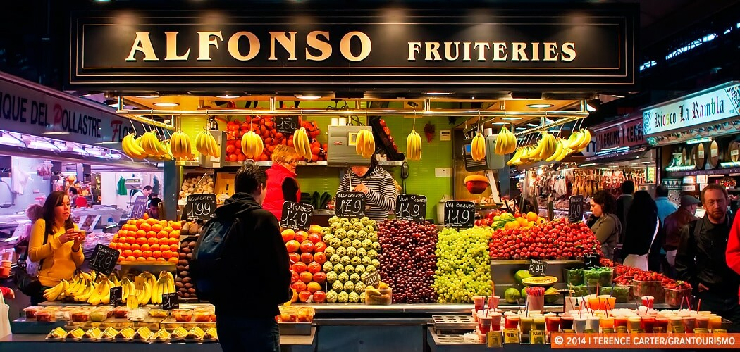 Fruit shop at the markets, Barcelona, Spain.