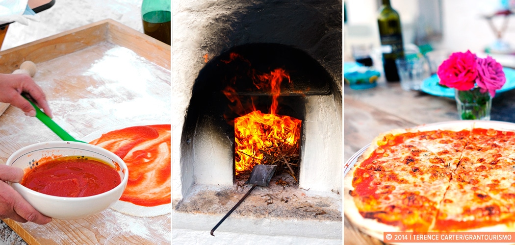 Homemade Puglian Pizza from Our Own Woodfired Pizza Oven, Alberobello, Puglia, Italy. Copyright 2014 Terence Carter / Grantourismo. All Rights Reserved.