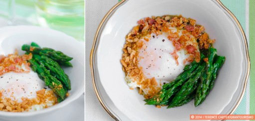 Poached Eggs with Asparagus, Pancetta and Parmesan, a Contemporary Take