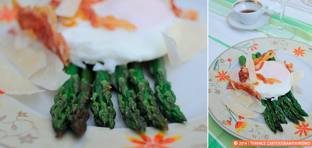 Poached Eggs, Asparagus, Pancetta and Parmesan recipe. Venice, Italy. Copyright 2014 Terence Carter / Grantourismo. All Rights Reserved.