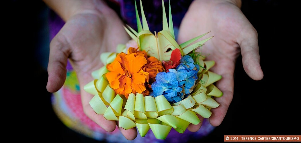 Learning the Art of Making Offerings in Ubud, Bali, Indonesia.