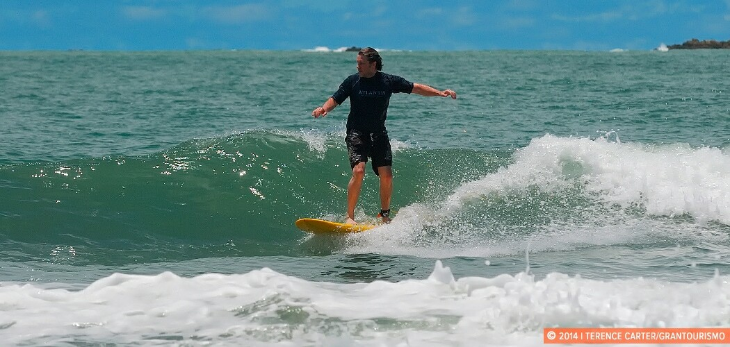 Surfing lesson at Manuel Antonio, Puntarenas, Costa Rica.
