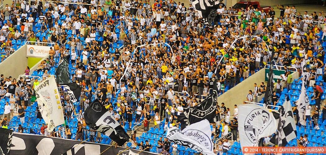 Attending a football match in Rio. São Cristóvão stadium. Rio