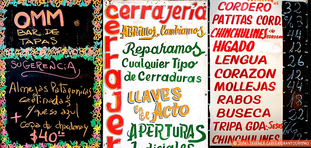 Restaurant menus. Buenos Aires, Argentina. Learning languages when you travel Copyright 2014 Terence Carter / Grantourismo. All Rights Reserved.