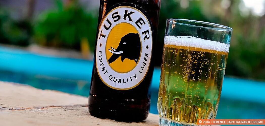 Tusker beer, poolside, Diani Beach, Mombasa, Kenya.