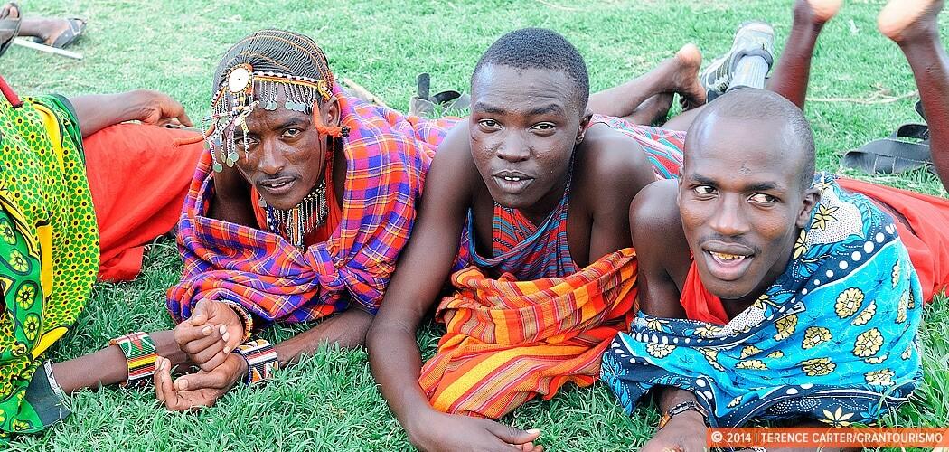 Tribesmen of a Maasai village close to the Sarova Mara in the Ma