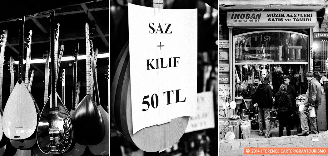 Buying a Saz or Baglama in Istanbul, Turkey. Saz instrument shops, Istanbul, Turkey. Copyright 2014 Terence Carter / Grantourismo. All Rights Reserved.