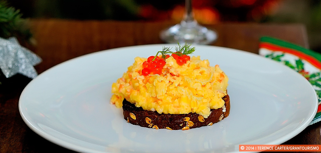 Scrambled Eggs with Smoked Salmon Recipe. Krakow, Poland. Copyright 2014 Terence Carter / Grantourismo. All Rights Reserved.