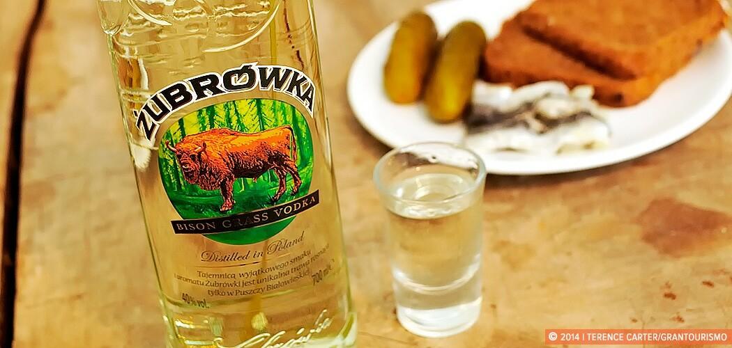 Żubrówka or Bison Grass vodka. Krakow, Poland.