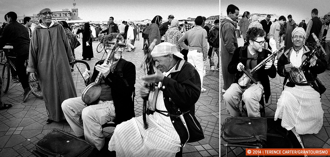 Playing the amzhad, a single-stringed Berber instrument, with a couple of local musicians on the Djemaa el Fna, Marrakech, Morocco. Copyright 2014 Terence Carter / Grantourismo. All Rights Reserved.