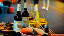 Singha beer and street food, Bangkok. Copyright 2014 Terence Carter / Grantourismo. All Rights Reserved.