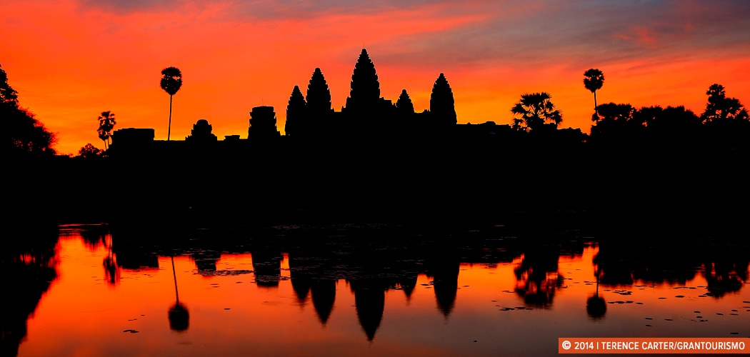 Angkor Wat at dawn, Siem Reap, Cambodia. Copyright 2014 Terence Carter / Grantourismo. All Rights Reserved. Exploring Angkor Wat.