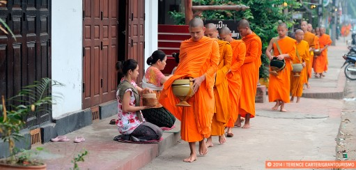 Early Morning Alms Giving to the Monks in Luang Prabang, Laos