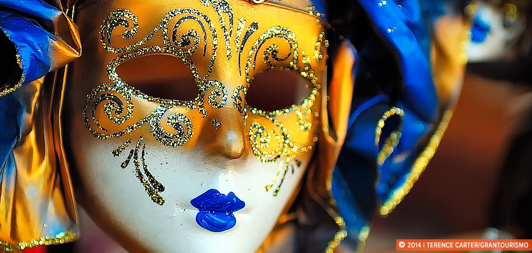Carnival Mask, Venice, Italy. Copyright 2014 Terence Carter / Grantourismo. All Rights Reserved. Grantoursimo guide to romance.