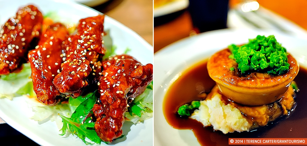 Korean food and a classic meat pie and gravy, Sydney, Australia. Copyright 2014 Terence Carter / Grantourismo. All Rights Reserved.
