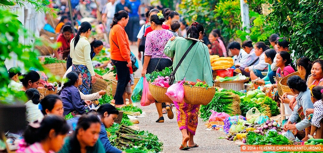 Local early morning market in Luang Prabang, Laos.