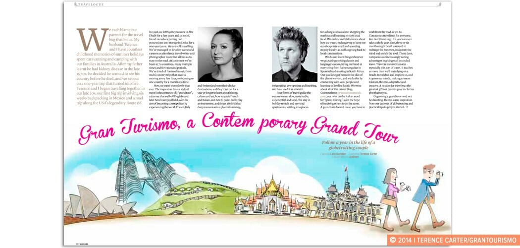 Sawadee Feature Story on Grantourismo. Lara Dunston and Terence