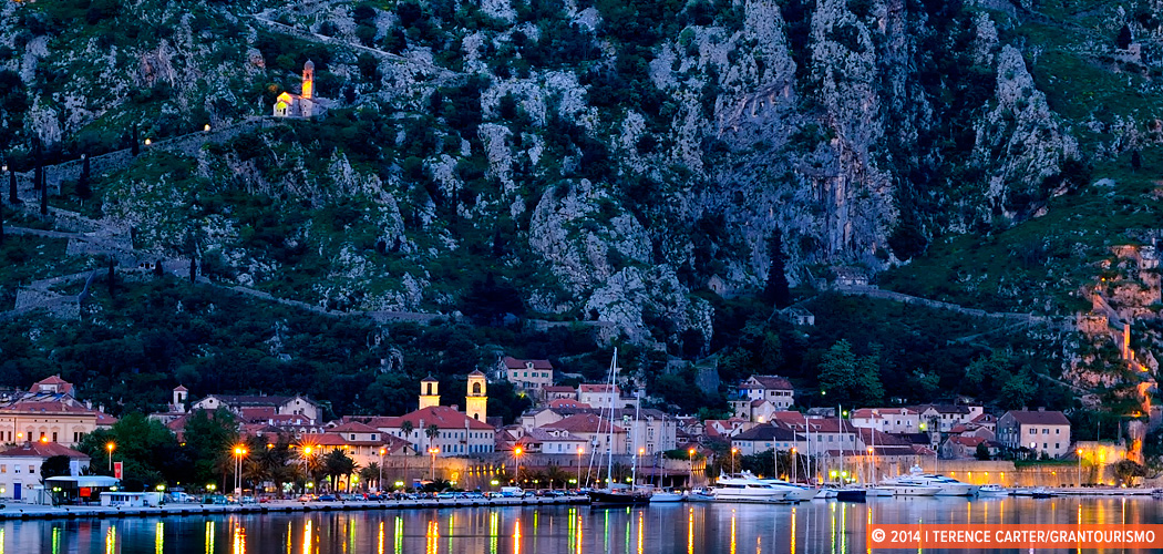 Bay of Kotor at dusk. Kotor, Montenegro. Copyright 2014 Terence Carter / Grantourismo. All Rights Reserved.