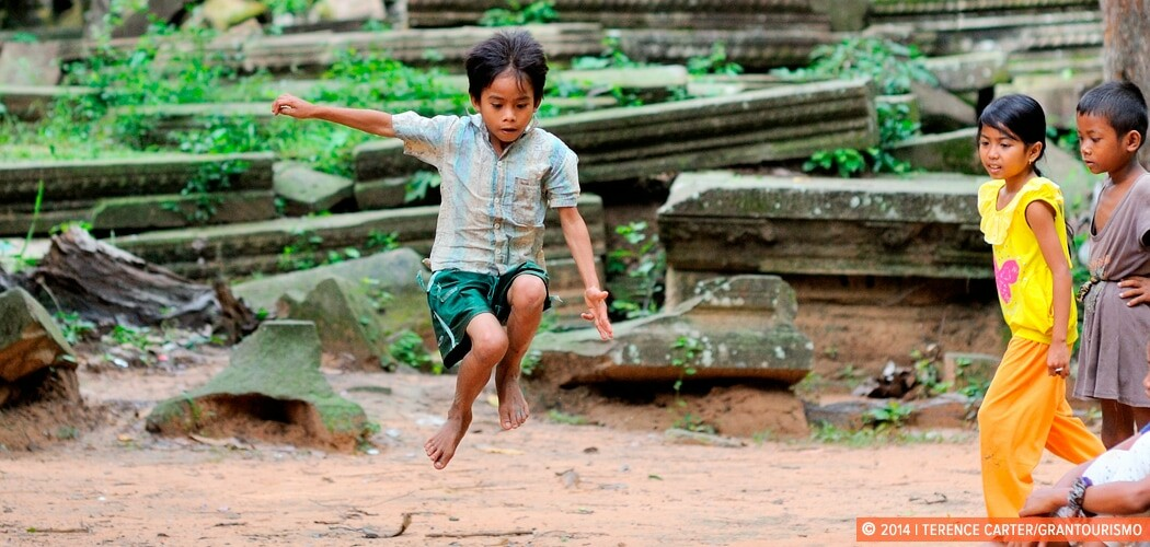 Children play in the ruins of Beng Mealea. Siem Reap, Cambodia.