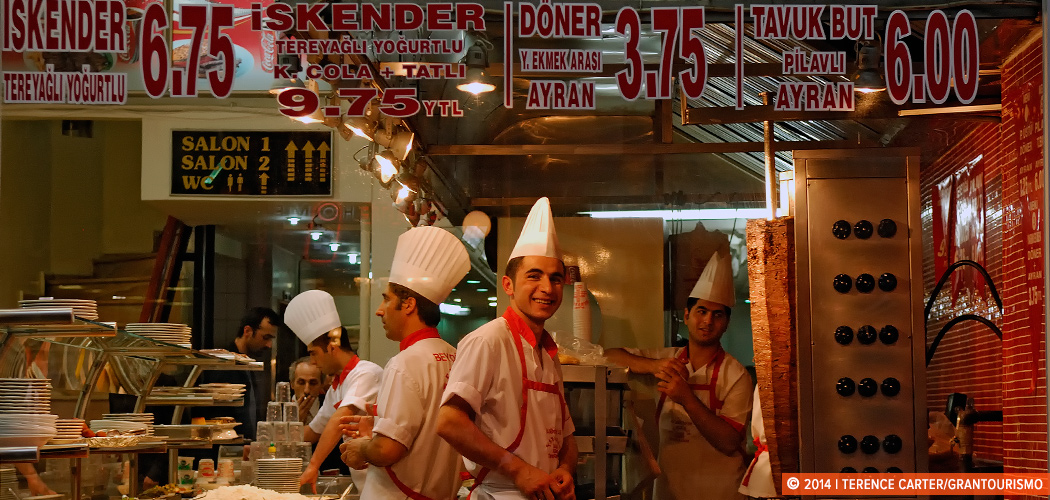 Kebab shop, Istanbul, Turkey. Copyright 2014 Terence Carter / Grantourismo. All Rights Reserved.