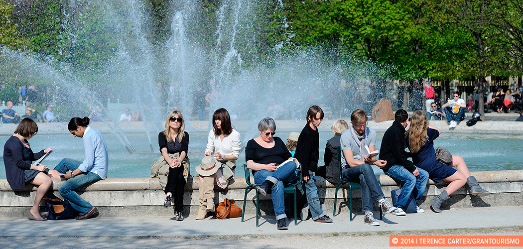 Relaxing in spring, Paris, France. Copyright 2014 Terence Carter / Grantourismo. All Rights Reserved.