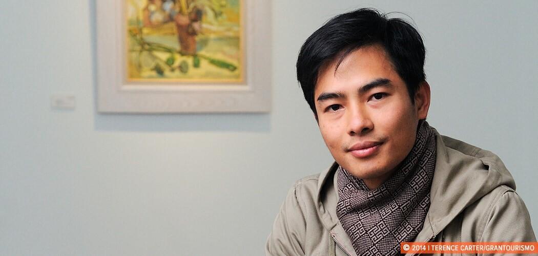 Artist Trinh Lien at Nguyen Art Gallery, Hanoi, Vietnam.