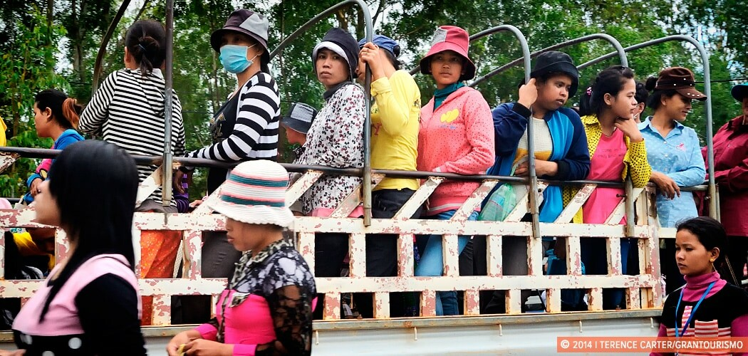 Garment workers leave for the day in Phnom Penh, Cambodia