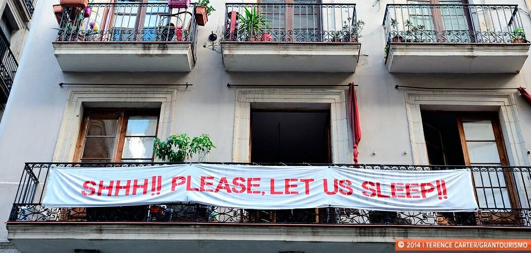 Barcelona tourist protest banner, Spain.