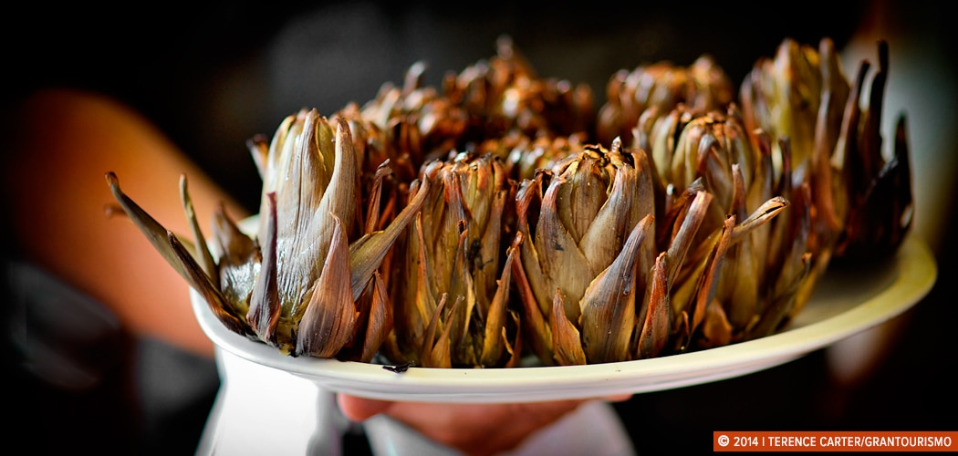 Grilled artichokes at Canals & Munné's restaurant, Sant Siduru d'Anoia, Spain. Copyright 2014 Terence Carter / Grantourismo. All Rights Reserved. Cava and Catalan cuisine.