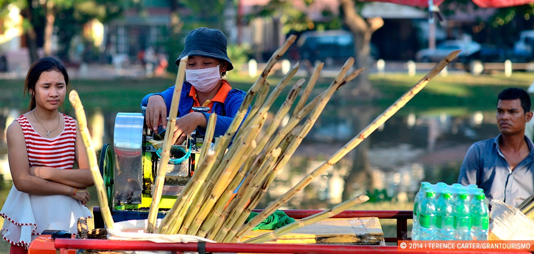 Fresh Sugar Cane Juice, Siem Reap, Cambodia. Copyright 2014 Terence Carter / Grantourismo. All Rights Reserved.