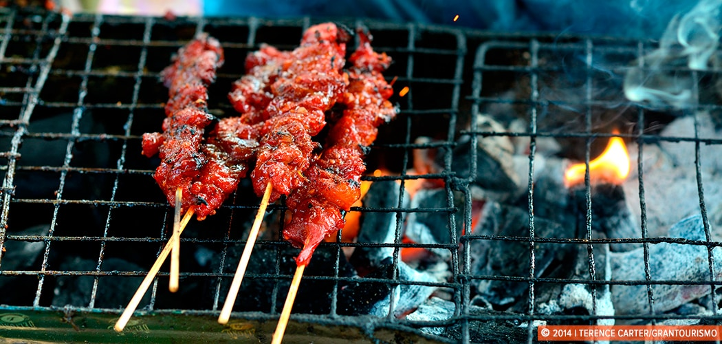 Grilled Pork Skewers, Siem Reap, Cambodia. Copyright 2014 Terence Carter / Grantourismo. All Rights Reserved.