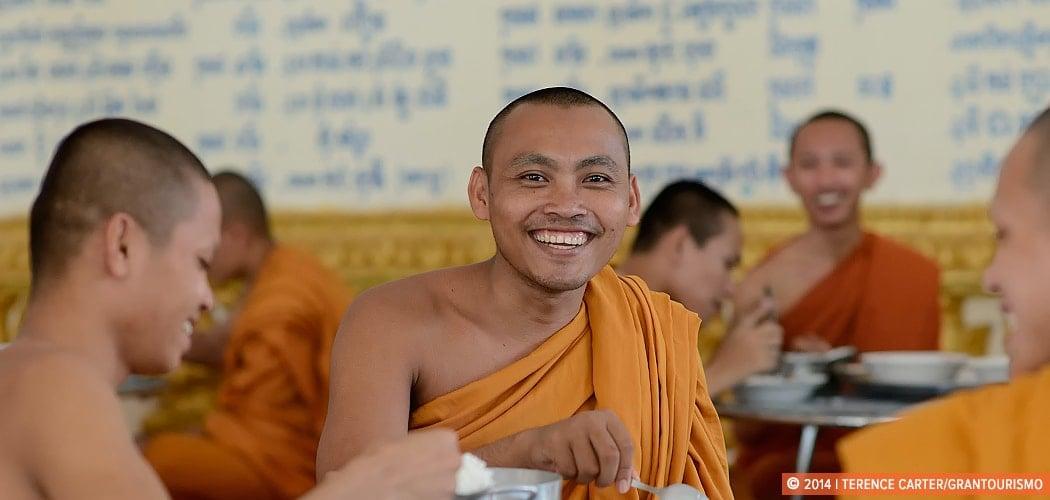 Monks eating lunch, Battambang, Cambodia.