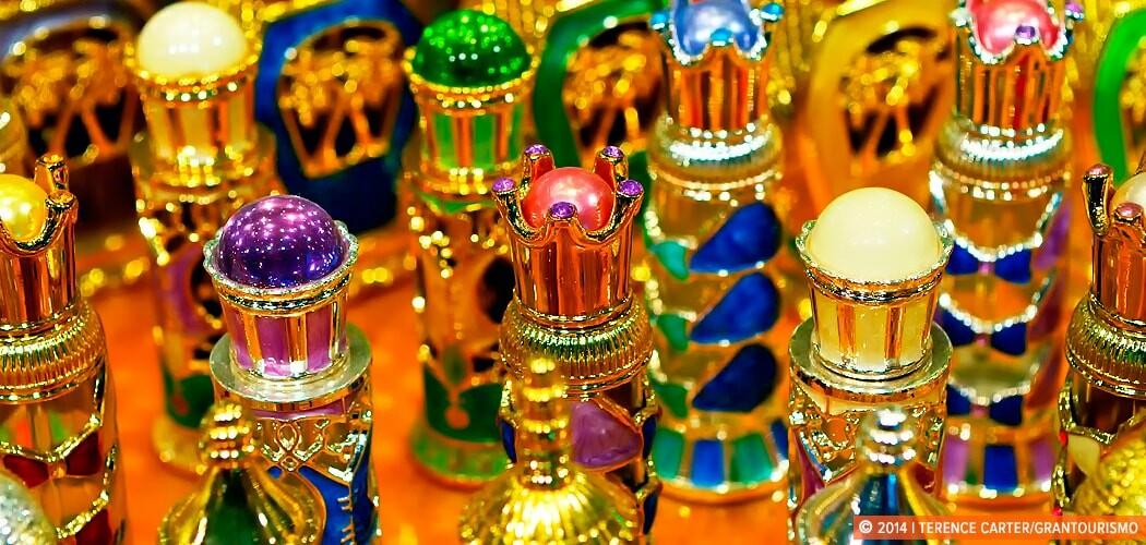 Perfume bottles near Dubai's Gold Souq, Dubai, UAE.