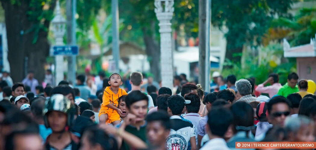 A boy in the crowds gathered for the Siem Reap Water Festival, (