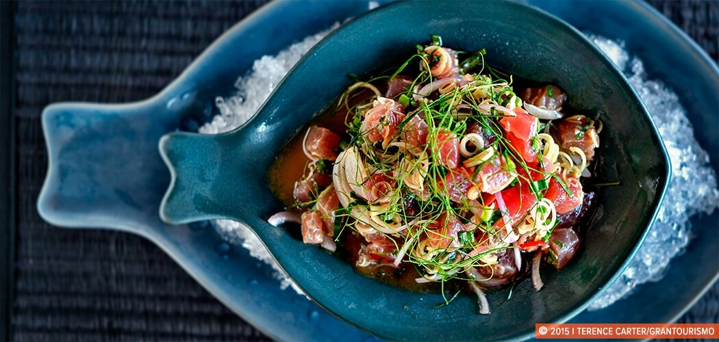 Marinated tuna with lemongrass, mint and chilli. Nahmyaa Thai. Phuket Cuisine