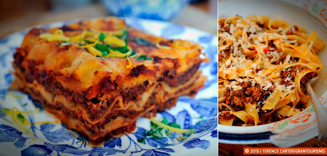 Lasagne Bolognese al Forno (L), Tagliatelle al Ragù Bolognese (R). Copyright 2015 Terence Carter / Grantourismo. All Rights Reserved. home-cooked comfort food recipes