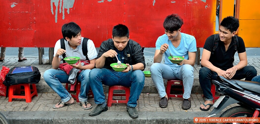 Eating on the streets of Ho Chi Minh City (Saigon), Vietnam.