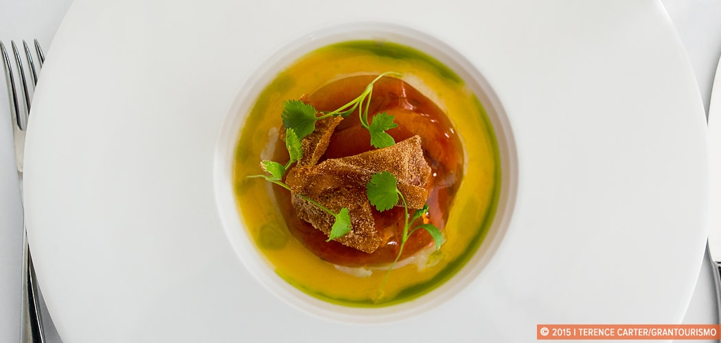 A dish at Hill of Grace Restaurant, Adelaide Oval, Adelaide, South Australia, Australia. Copyright 2015 Terence Carter / Grantourismo. All Rights Reserved. Australian food trends we love.