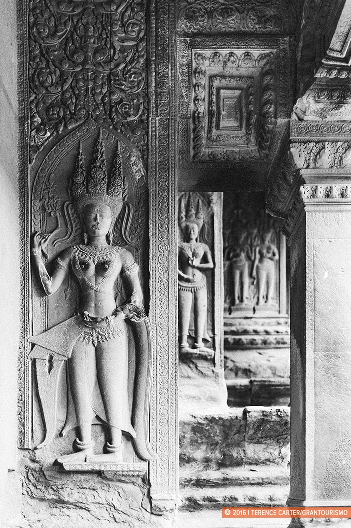 Apsara carvings inside Angkor Wat. Angkor Archaeological Park, Siem Reap, Cambodia. Copyright 2016 Terence Carter / Grantourismo. All Rights Reserved. Best Photography Equipment for the Angkor Wat Temples.