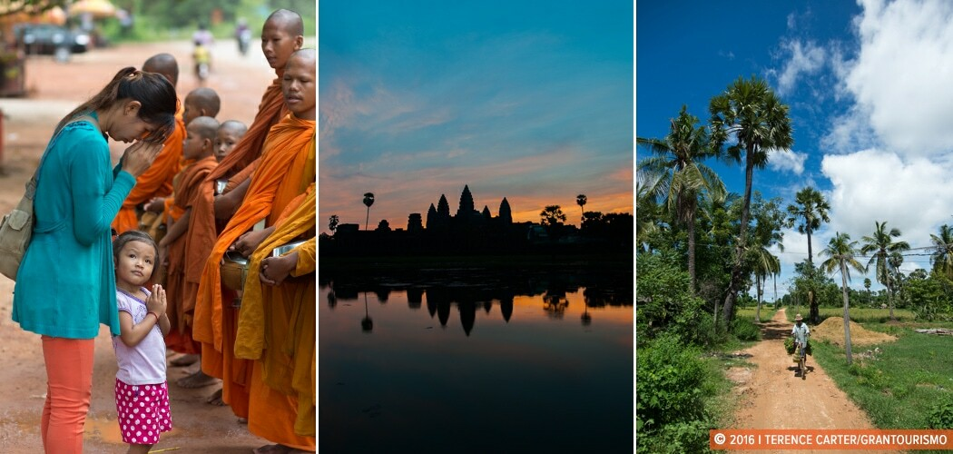 Giving Alms to monks (L), Angkor Wat at dawn (C), countryside outside Siem Reap (R).
