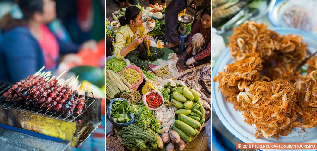 Street food in Siem Reap, Cambodia. Copyright 2016 Terence Carter / Grantourismo. All Rights Reserved. Discover Cambodian cuisine.