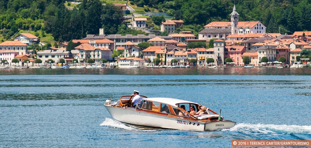 A chartered boat on Lake Orta, Lombardy, Italy.