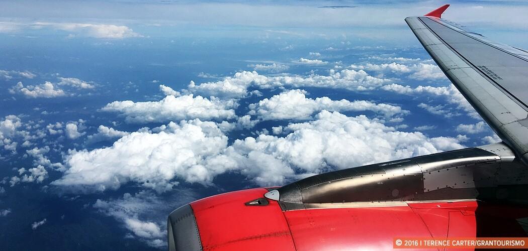 Flying Air Asia over Battambang, Cambodia.