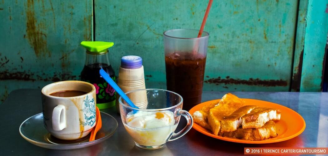 Eggs, Kaya toast and coffee, George Town, Penang, Malaysia.
