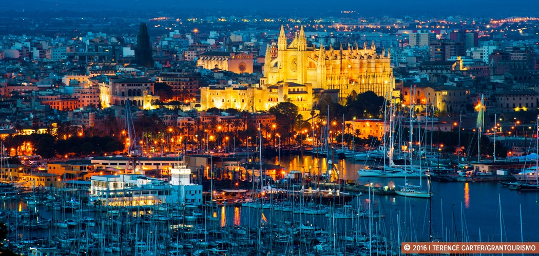 Port and La Seu (Palma Cathedral) from Castell de Bellver, Palma, Mallorca, Spain. Copyright 2016 Terence Carter / Grantourismo. All Rights Reserved.