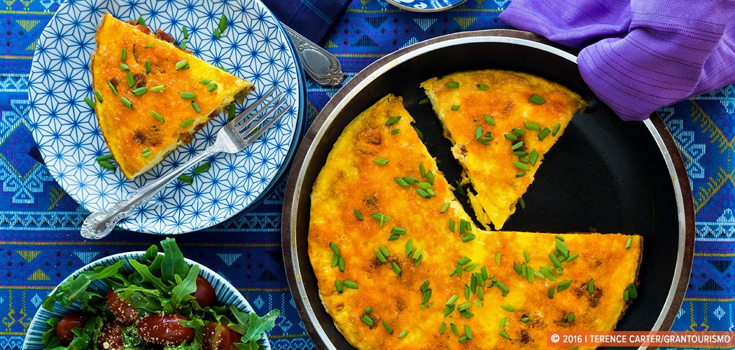 best egg dishes for Easter. Frittata Recipe — Frittata with Chorizo and Caramelised Onions. Copyright 2016 Terence Carter / Grantourismo. All Rights Reserved.